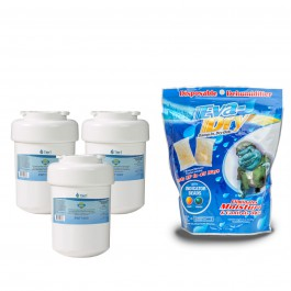 GE MWF Comparable Refrigerator Water Filter (3-Pack) and Eva-Dry E-150 Silica Gel Twin Pack by Tier1