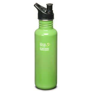 Klean Kanteen K27PPS-BG Stainless Steel Water Bottle: 27 oz. Green w/Sport Top