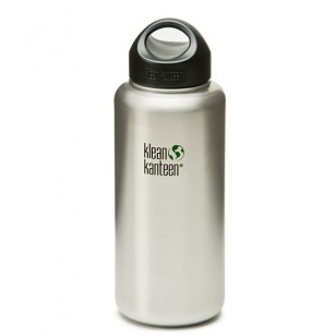 Klean Kanteen K40WSSL Stainless Steel Wide Mouth Water Bottle: 40 Ounce w/Loop-cap
