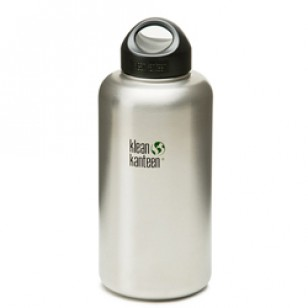 Klean Kanteen K64WSSL Stainless Steel Wide Mouth Water Bottle: 64 Ounce w/Loop-cap