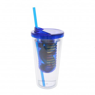 20 Ounce Water Bottle Clear with Blue Infuser by Tier1