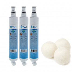 Whirlpool EveryDrop EDR6D1 4396701 Comparable Refrigerator Water Filter and Fabric Softening Wool Dryer Ball (3 Pack) by Tier1
