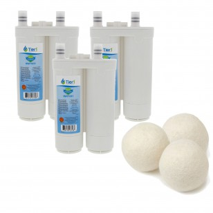 Frigidaire WF2CB PureSource2 Comparable Refrigerator Water Filter and Fabric Softening Wool Dryer Ball (3 Pack) by Tier1
