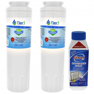 Maytag EDR4RXD1 EveryDrop UKF8001 Comparable Refrigerator Water Filter Replacement and Glisten Dishwasher Magic Dishwasher Cleaner Bundle by Tier1 (2-Pack)