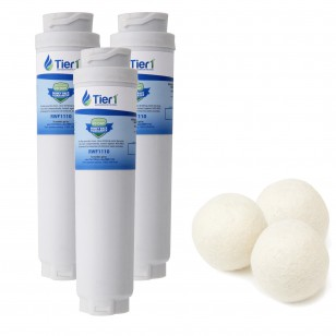 Bosch 644845 / UltraClarity REPLFLTR10 Comparable Refrigerator Water Filter and Fabric Softening Wool Dryer Ball (3 Pack) by Tier1