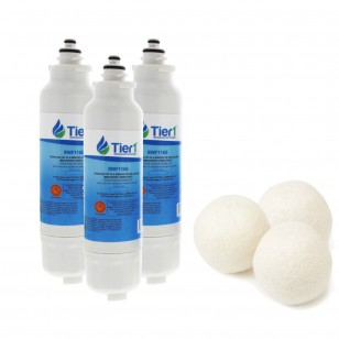 LG LT800P Comparable Refrigerator Water Filter and Fabric Softening Wool Dryer Ball (3 Pack) by Tier1