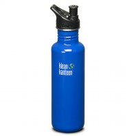Klean Kanteen K27PPS-OB Stainless Steel Water Bottle: 27 oz. Ocean Blue w/Sport Top